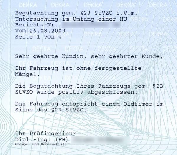 Am 26.08.2009 wurde der Bulli offiziell Oldtimer und darf nun ein H-Kennzeichen haben:)
